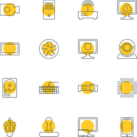 minicomputer: Vector Illustration Of 16 Laptop Icons. Editable Pack Of Presentation, Smartphone, Movie Cam And Other Elements.