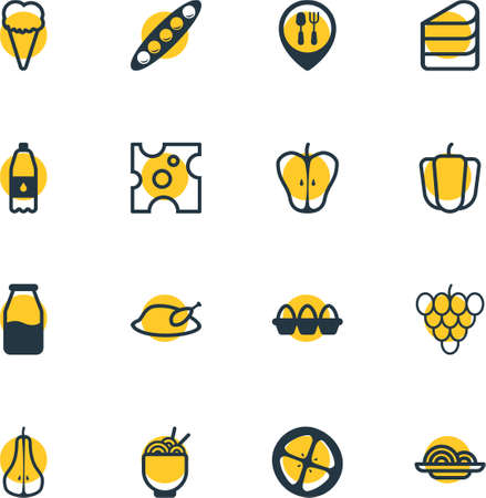 cruet: Vector Illustration Of 16 Cuisine Icons. Editable Pack Of Cruet, Egg Container, Pasta And Other Elements. Illustration