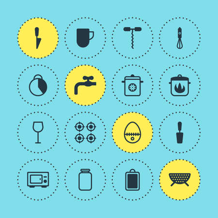 coking: Vector Illustration Of 16 Cooking Icons. Editable Pack Of Can, Steamer, Wine And Other Elements. Illustration
