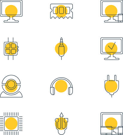 jack pack: Vector Illustration Of 12 Computer Icons. Editable Pack Of Usb Icon, Input Jack, Screen And Other Elements.