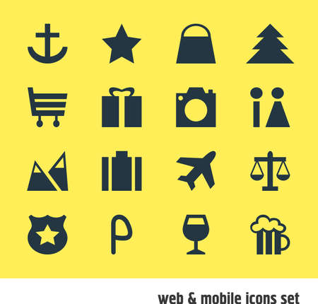Vector Illustration Of 16 Location Icons. Editable Pack Of Scales, Cop , Handbag Elements.
