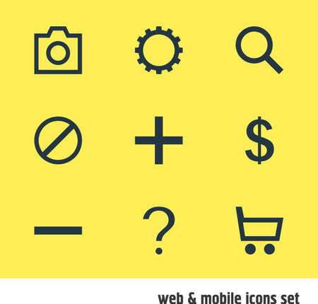 addition: Vector Illustration Of 9 Interface Icons. Editable Pack Of Snapshot, Seek, Minus And Other Elements.