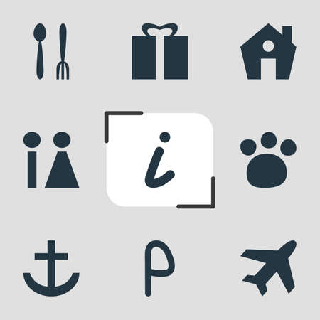 Vector Illustration Of 9 Location Icons. Editable Pack Of Pet Shop, Anchor, Cafe And Other Elements.