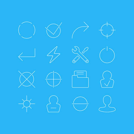 Vector Illustration Of 16 User Interface Icons. Editable Pack Of Dossier, Yes, Share And Other Elements. Illustration