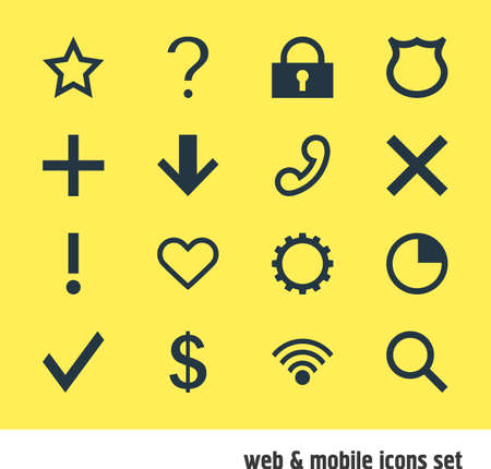 Vector Illustration Of 16 User Icons. Editable Pack Of Wrong, Alert, Downward And Other Elements. Illustration