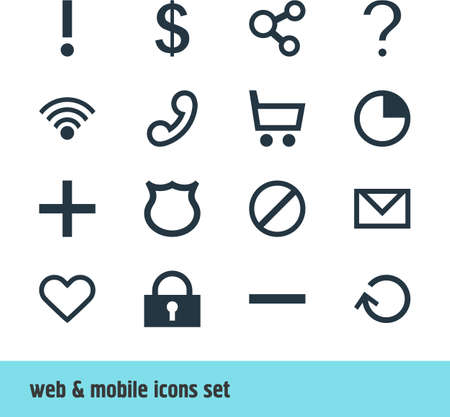 interjection: Vector Illustration Of 16 Interface Icons. Editable Pack Of Cordless Connection, Publish, Wheelbarrow And Other Elements. Illustration
