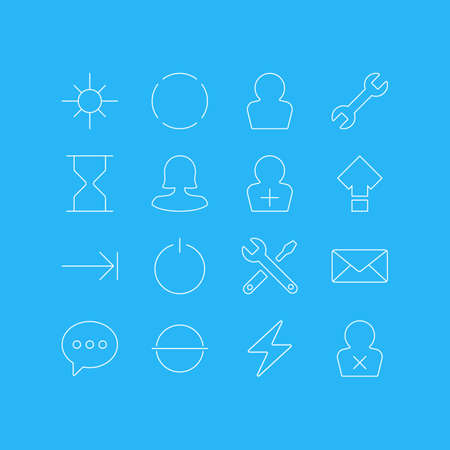 Vector Illustration Of 16 UI Icons. Editable Pack Of Displacement, Avatar, Maintenance And Other Elements. Illustration