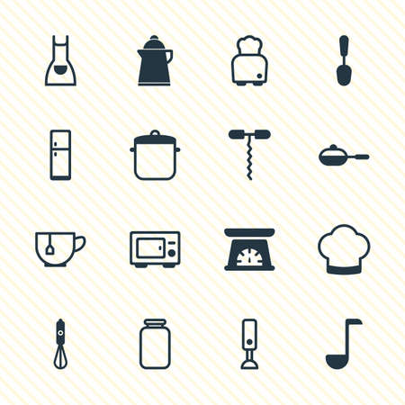 browning: A Vector Illustration Of 16 Cooking Icons. Editable Pack Of Smock, Mug, Chef Hat And Other Elements.