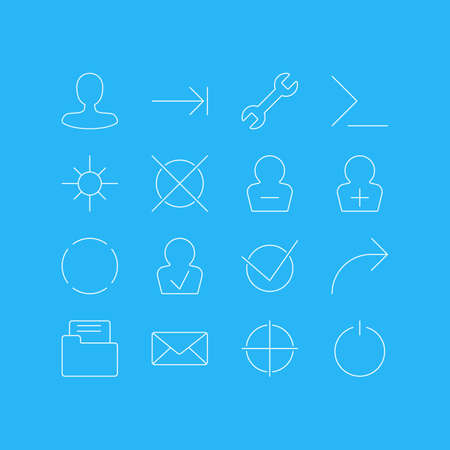 Vector Illustration Of 16 Interface Icons. Editable Pack Of Startup, Sunshine, Man Member And Other Elements. Illustration