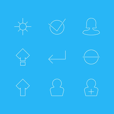Vector Illustration Of 9 UI Icons. Editable Pack Of Remove, Yes, Upward And Other Elements.