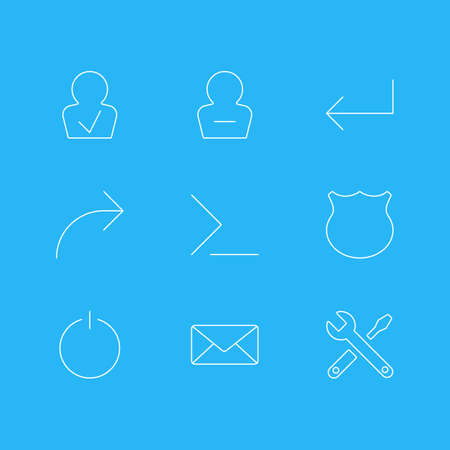 Vector Illustration Of 9 UI Icons. Editable Pack Of Remove User, Maintenance, Guard And Other Elements.