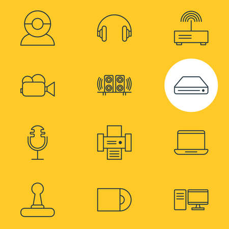 Vector Illustration Of 12 Technology Icons. Editable Pack Of Headset, Photocopier, Computer And Other Elements. Illustration