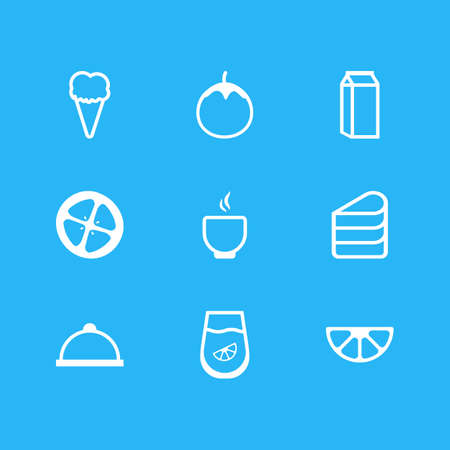 Vector Illustration Of 9 Cuisine Icons. Editable Pack Of Sundae, Juice, Eggplant And Other Elements. Illustration