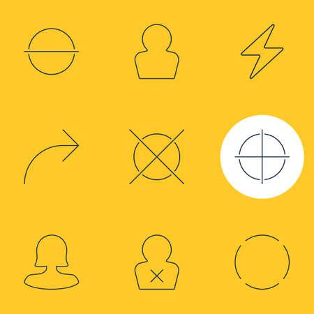 9 사용자 인터페이스 아이콘의 벡터 일러스트 레이 션. 편집 가능한 팩 여성 사용자, 공유, 금지 된 멤버 및 다른 요소.