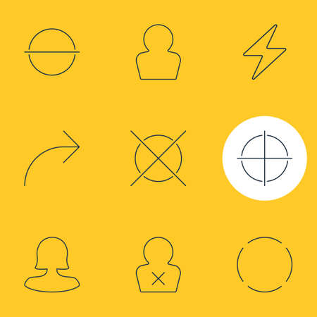 Vector Illustration Of 9 User Interface Icons. Editable Pack Of Female User, Share, Banned Member And Other Elements.