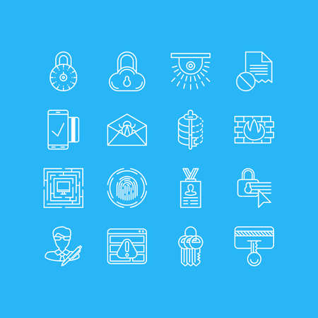 easy money: Vector Illustration Of 16 Privacy Icons. Editable Pack Of Key Collection, Encoder, Browser Warning And Other Elements.