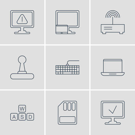 Vector Illustration Of 9 Notebook Icons. Editable Pack Of Router, Keyboard, Qwerty Board And Other Elements. Illustration