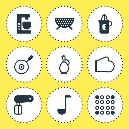 coking: Vector Illustration Of 9 Kitchenware Icons. Editable Pack Of Sieve, Shaker, Carafe And Other Elements.