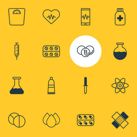 Vector Illustration Of 16 Health Icons. Editable Pack Of Vaccinator, Molecule, Patch And Other Elements.