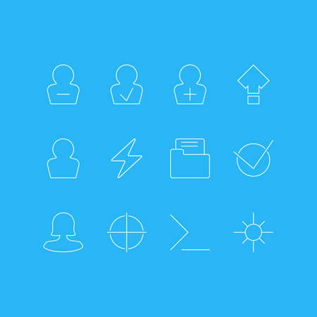 Vector Illustration Of 12 UI Icons. Editable Pack Of Yes, Avatar, Approved Profile And Other Elements. Illustration
