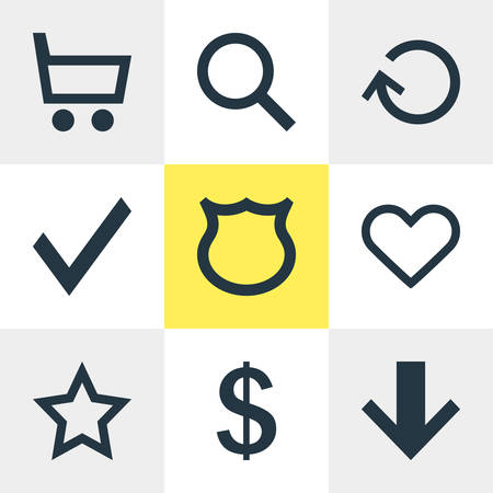 safekeeping: Vector Illustration Of 9 Interface Icons. Editable Pack Of Conservation, Downward, Money Making And Other Elements. Illustration