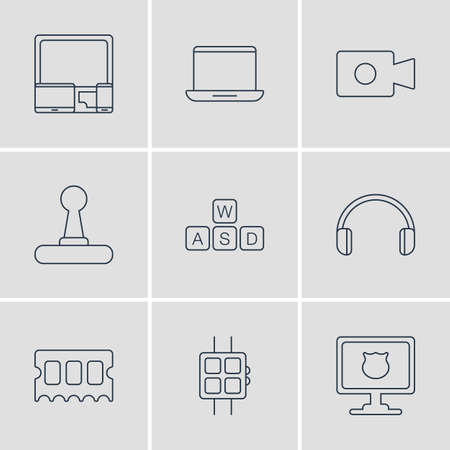 Vector Illustration Of 9 Laptop Icons. Editable Pack Of Headsets, Gadgets, Antivirus And Other Elements.