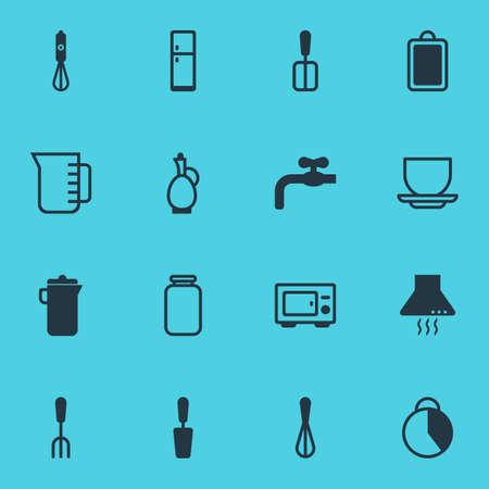 Vector Illustration Of 16 Cooking Icons. Editable Pack Of Cooking Spade, Spatula, Oven And Other Elements.