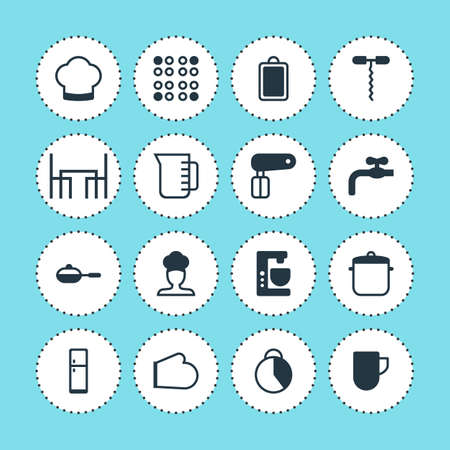 Vector Illustration Of 16 Cooking Icons. Editable Pack Of Cooker, Mixer, Timekeeper And Other Elements. Illustration