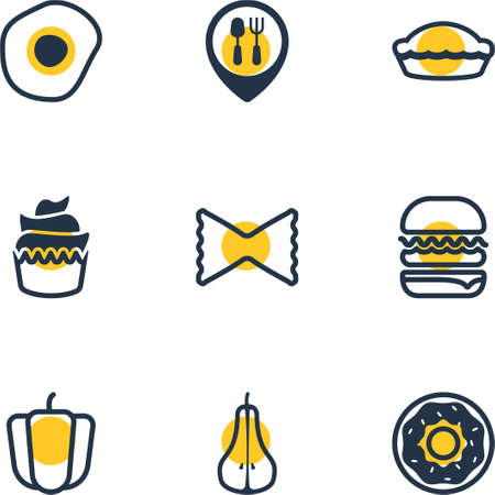 Vector Illustration Of 9 Meal Icons. Editable Pack Of Flan, Dessert, Farfalle And Other Elements. Illustration