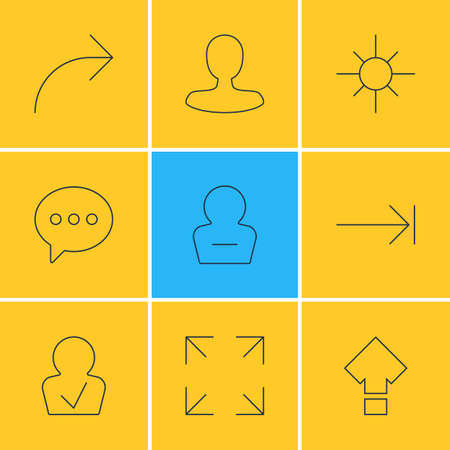 Vector Illustration Of 9 User Interface Icons. Editable Pack Of Share, Tabulation Button, Man Member And Other Elements.