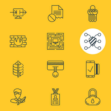 decode: Vector Illustration Of 12 Data Icons. Editable Pack Of Key Collection, Safe Storage, Network Protection And Other Elements. Illustration