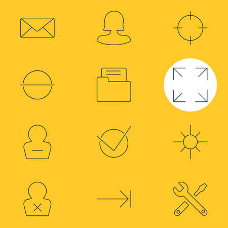 tabulation: Vector Illustration Of 12 UI Icons. Editable Pack Of Sunshine, Banned Member, Maintenance And Other Elements. Illustration