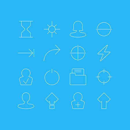 tabulation: Vector Illustration Of 16 User Interface Icons. Editable Pack Of Screen Capture, Tabulation Button, Female User And Other Elements. Illustration