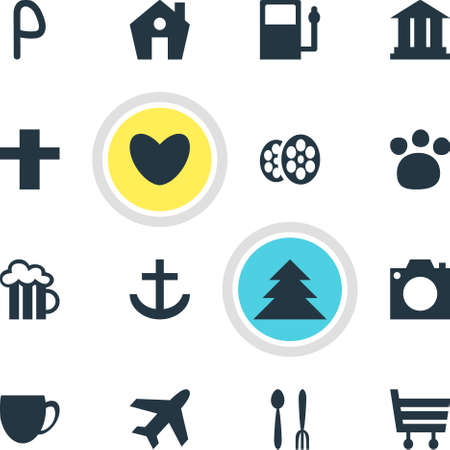 Vector Illustration Of 16 Map Icons. Editable Pack Of Heart, Film, Car Park And Other Elements. Ilustração