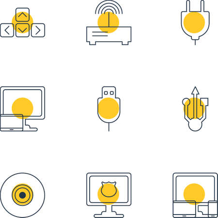 portable console: Vector Illustration Of 9 Laptop Icons. Editable Pack Of Keypad, Antivirus, Router And Other Elements.