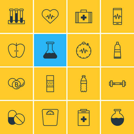 soundness: Vector Illustration Of 16 Health Icons. Editable Pack Of Experiment Flask, Band Aid, Exigency Elements.