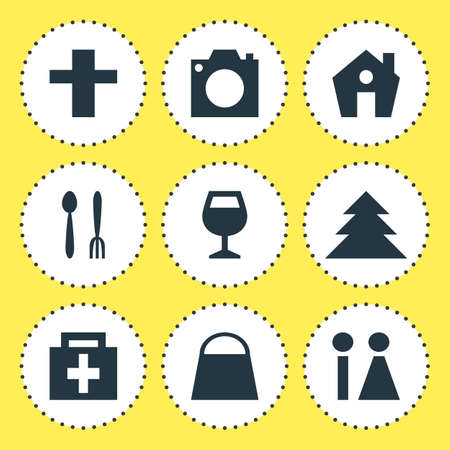 Vector Illustration Of 9 Map Icons. Editable Pack Of Toilet, Photo Device, Handbag Elements.