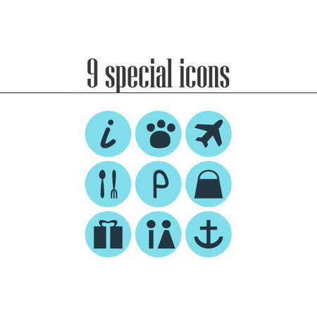 Vector Illustration Of 9 Location Icons. Editable Pack Of Car Park, Anchor, Map Information And Other Elements.