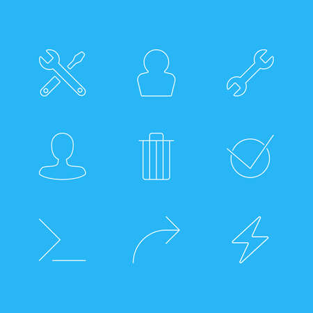Vector Illustration Of 9 User Interface Icons. Editable Pack Of Wrench, Yes, Man Member And Other Elements. Illustration
