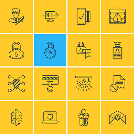 Vector Illustration Of 16 Protection Icons. Editable Pack Of Safe Lock, Account Data, Data Error And Other Elements.