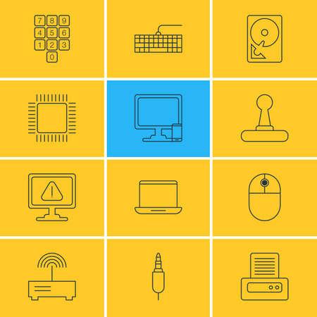 Illustration vectorielle de 12 icônes d'ordinateur portable. Pack éditable de la carte Qwerty, clavier numérique, manipulateur de curseur et autres éléments