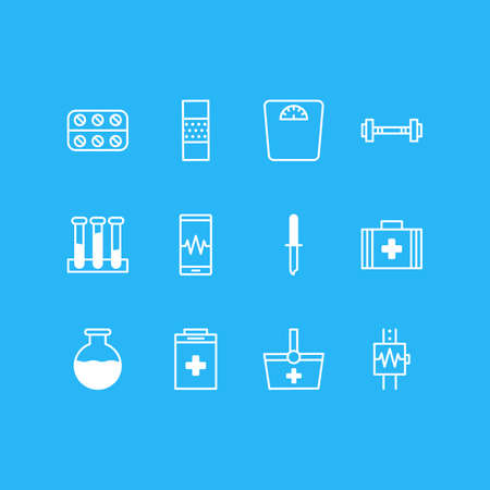 Vector Illustration Of 12 Medical Icons. Editable Pack Of Pills, Vial, Heartbeat And Other Elements.