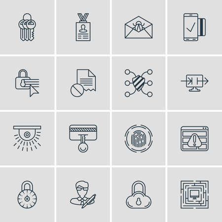 Vector Illustration Of 16 Internet Security Icons. Editable Pack Of Copyright, Key Collection, Confidentiality Options And Other Elements.