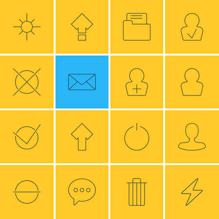 Vector Illustration Of 16 User Interface Icons. Editable Pack Of Message, Avatar, Yes And Other Elements. Illustration