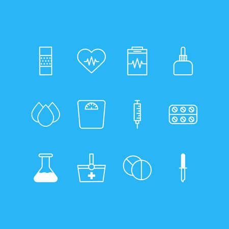 Vector Illustration Of 12 Health Icons. Editable Pack Of Pipette, Weighing Elements.