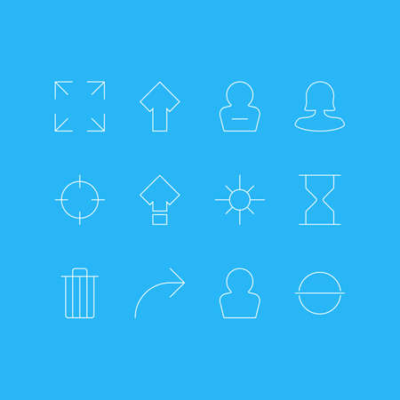 Vector Illustration Of 12 UI Icons. Editable Pack Of Wide Monitor, Garbage, Screen Capture And Other Elements.