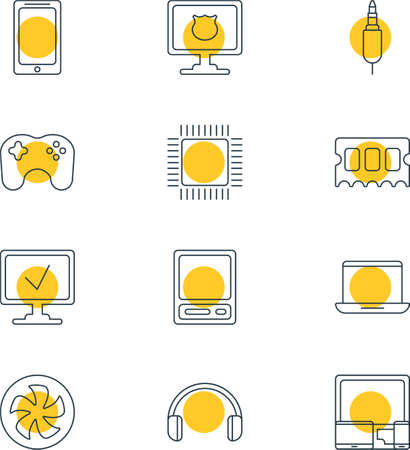 Vector Illustration Of 12 Notebook Icons. Editable Pack Of Antivirus, Online Computer, Gamepad And Other Elements.