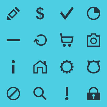 interjection: Vector Illustration Of 16 User Icons. Editable Pack Of Padlock, Stopwatch, Info And Other Elements.