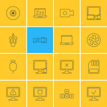 Vector Illustration Of 16 Computer Icons. Editable Pack Of Movie Cam, Presentation, Cooler And Other Elements.