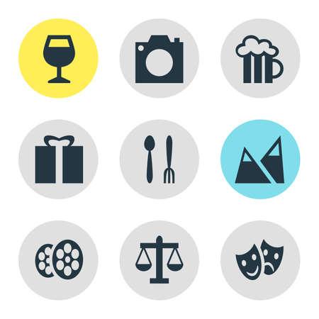 Vector Illustration Of 9 Map Icons. Editable Pack Of Beer Mug, Landscape, Cafe Elements. Illustration